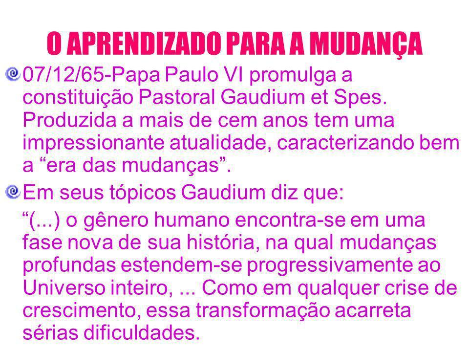 O APRENDIZADO PARA A MUDANÇA 07/12/65-Papa Paulo VI promulga a constituição Pastoral Gaudium et Spes. Produzida a mais de cem anos tem uma impressiona