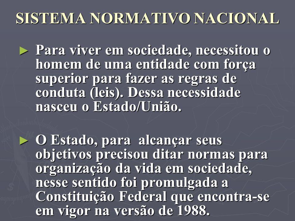 SISTEMA NORMATIVO NACIONAL Para viver em sociedade, necessitou o homem de uma entidade com força superior para fazer as regras de conduta (leis). Dess