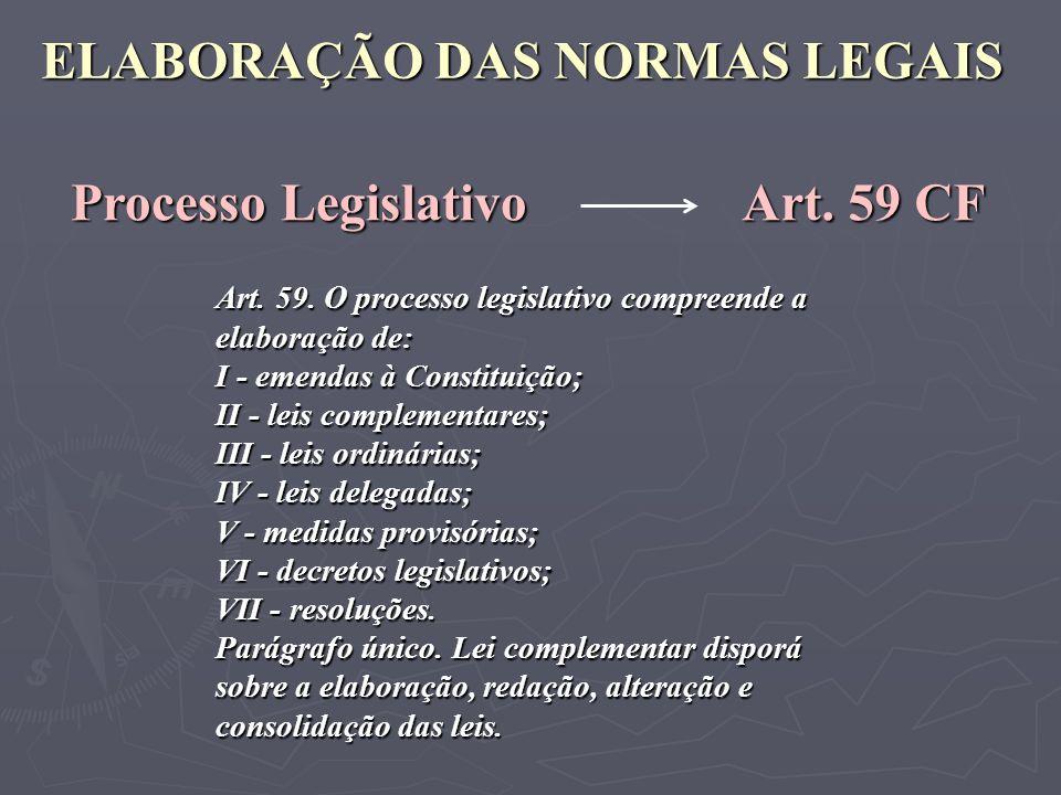 ELABORAÇÃO DAS NORMAS LEGAIS Processo Legislativo Art. 59 CF Art. 59. O processo legislativo compreende a elaboração de: I - emendas à Constituição; I