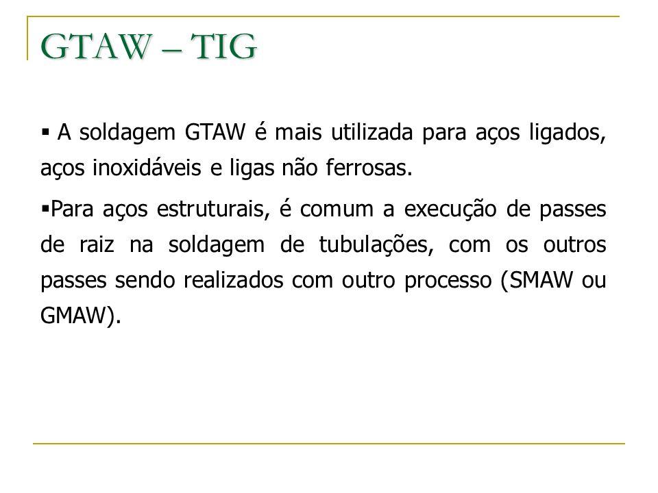 A soldagem GTAW é mais utilizada para aços ligados, aços inoxidáveis e ligas não ferrosas. Para aços estruturais, é comum a execução de passes de raiz