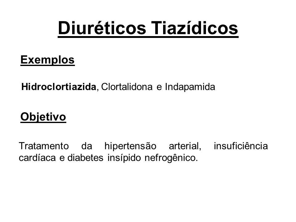 Diuréticos Tiazídicos Exemplos Hidroclortiazida, Clortalidona e Indapamida Objetivo Tratamento da hipertensão arterial, insuficiência cardíaca e diabe