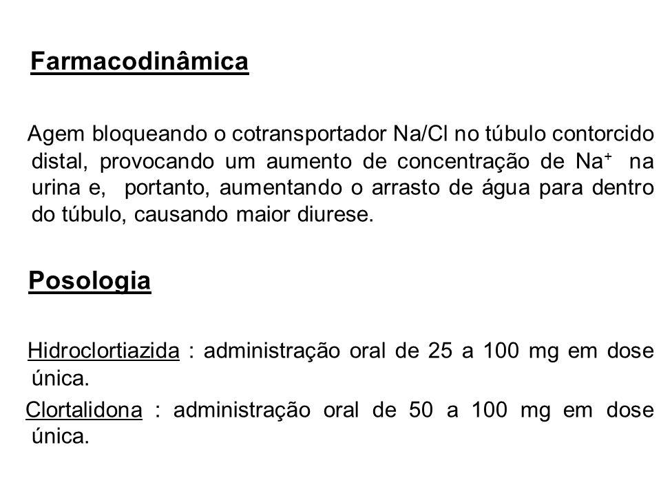 Farmacodinâmica Agem bloqueando o cotransportador Na/Cl no túbulo contorcido distal, provocando um aumento de concentração de Na + na urina e, portant