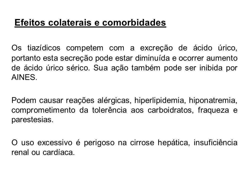 Efeitos colaterais e comorbidades Os tiazídicos competem com a excreção de ácido úrico, portanto esta secreção pode estar diminuída e ocorrer aumento
