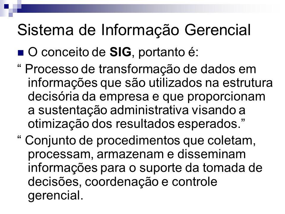Sistema de Informação Gerencial O conceito de SIG, portanto é: Processo de transformação de dados em informações que são utilizados na estrutura decis