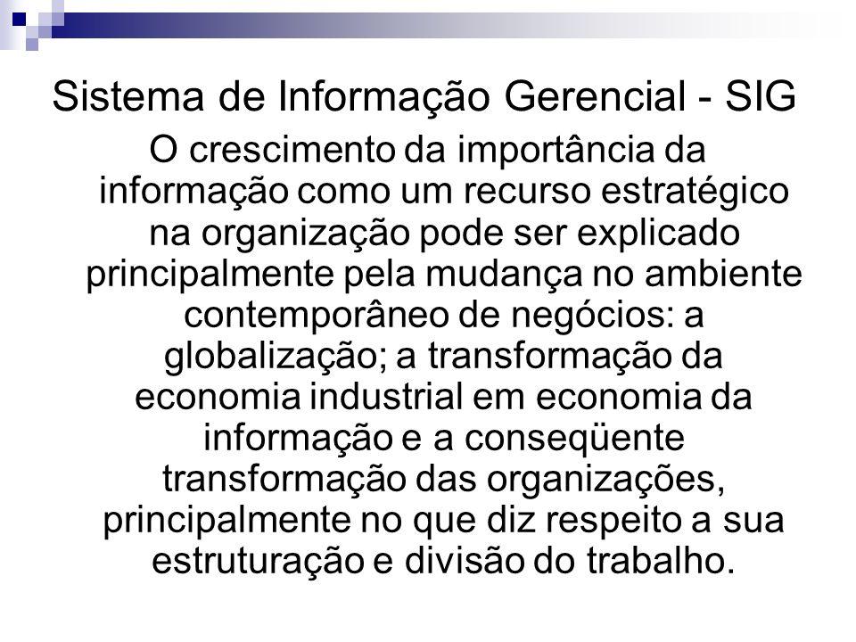 Sistema de Informação Gerencial - SIG O crescimento da importância da informação como um recurso estratégico na organização pode ser explicado princip
