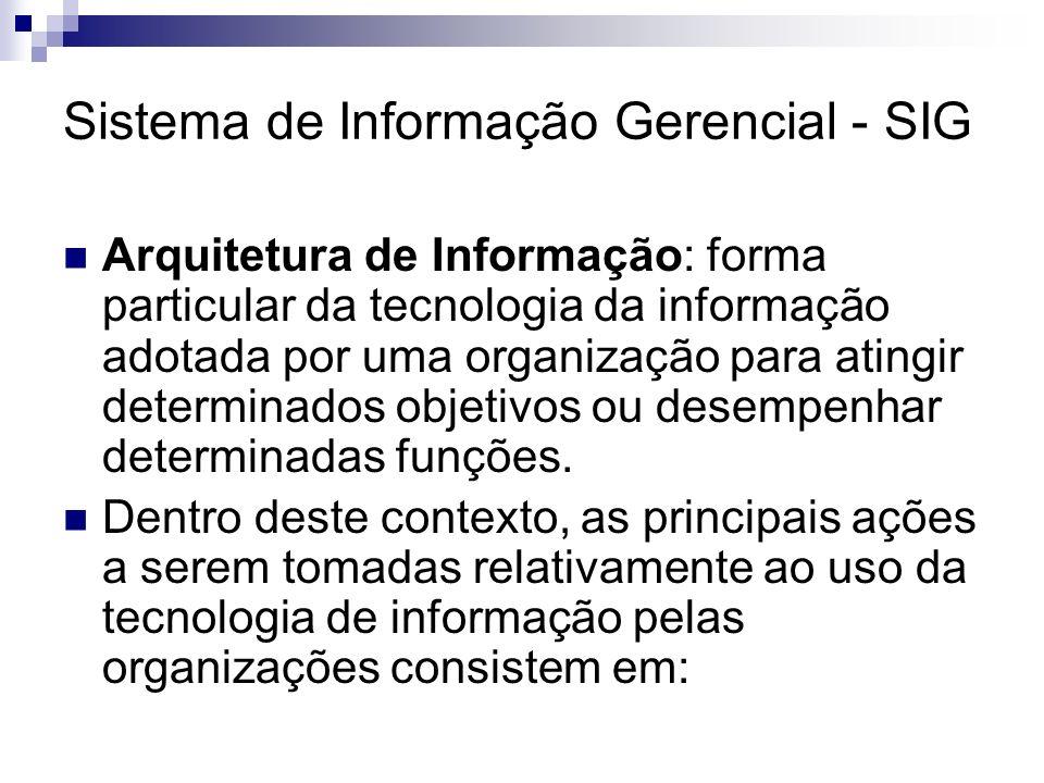 Sistema de Informação Gerencial - SIG Arquitetura de Informação: forma particular da tecnologia da informação adotada por uma organização para atingir