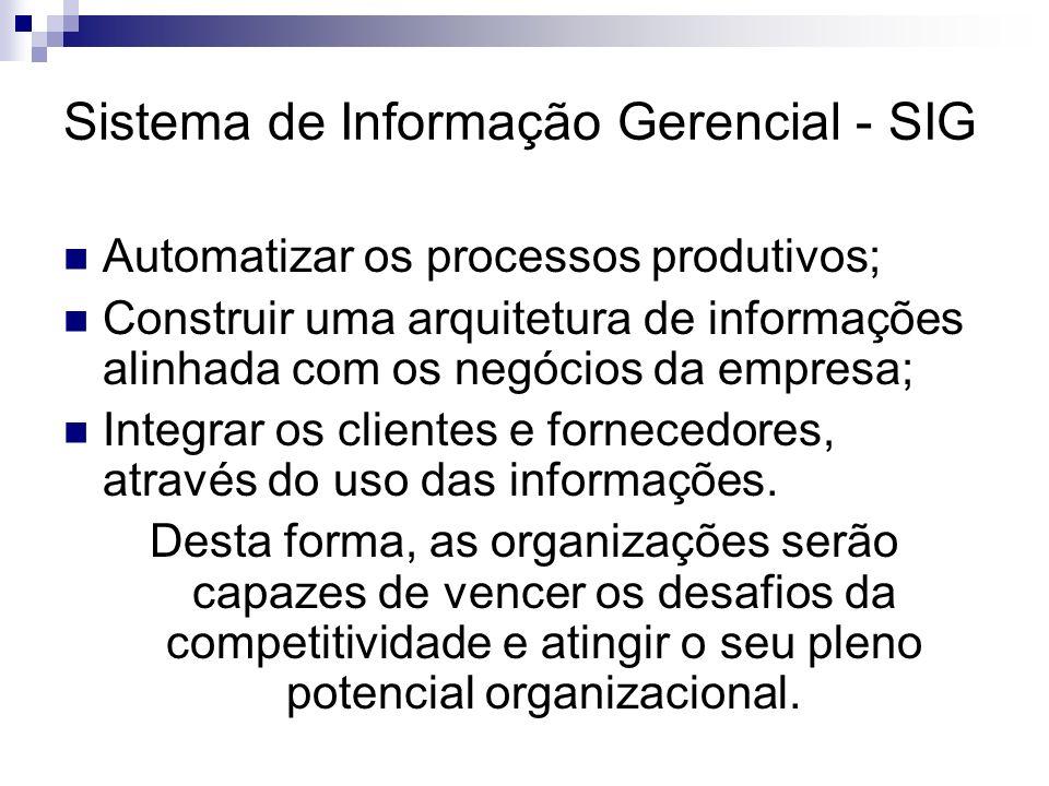 Sistema de Informação Gerencial - SIG Automatizar os processos produtivos; Construir uma arquitetura de informações alinhada com os negócios da empres
