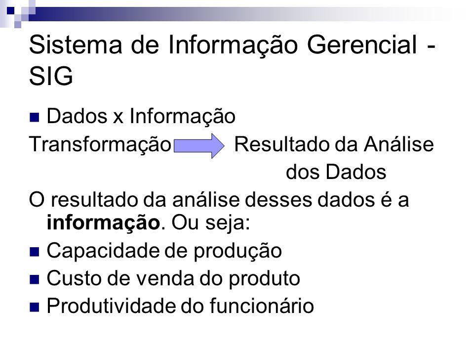 Sistema de Informação Gerencial - SIG Esquema básico do SIG: áreas funcionais Marketing Produção Administração financeira, de materiais, de recursos humanos e de serviços; Gestão empresarial.