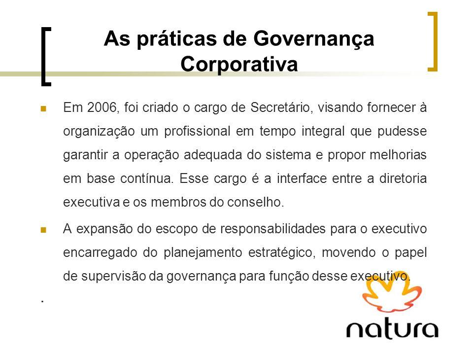 As práticas de Governança Corporativa Em 2006, foi criado o cargo de Secretário, visando fornecer à organização um profissional em tempo integral que