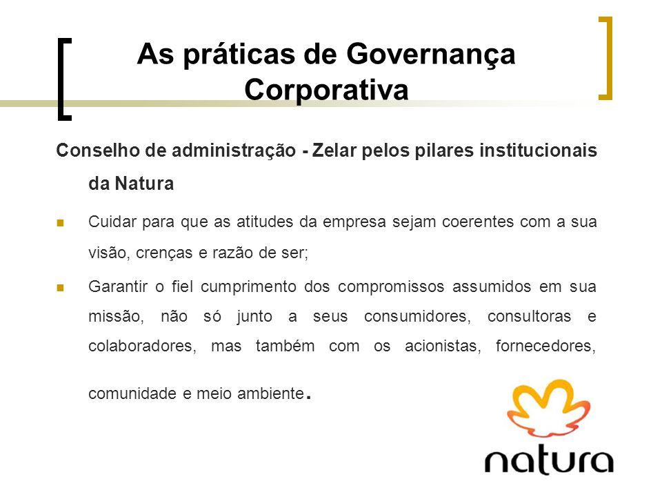 As práticas de Governança Corporativa Conselho de administração - Zelar pelos pilares institucionais da Natura Cuidar para que as atitudes da empresa