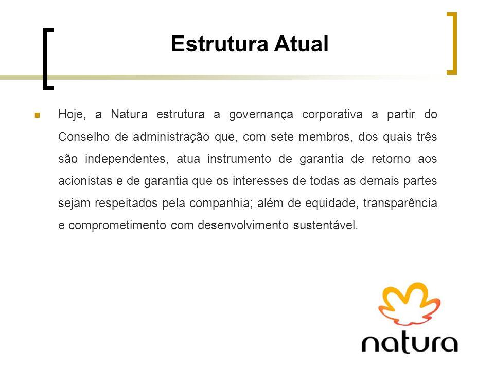 Estrutura Atual Hoje, a Natura estrutura a governança corporativa a partir do Conselho de administração que, com sete membros, dos quais três são inde