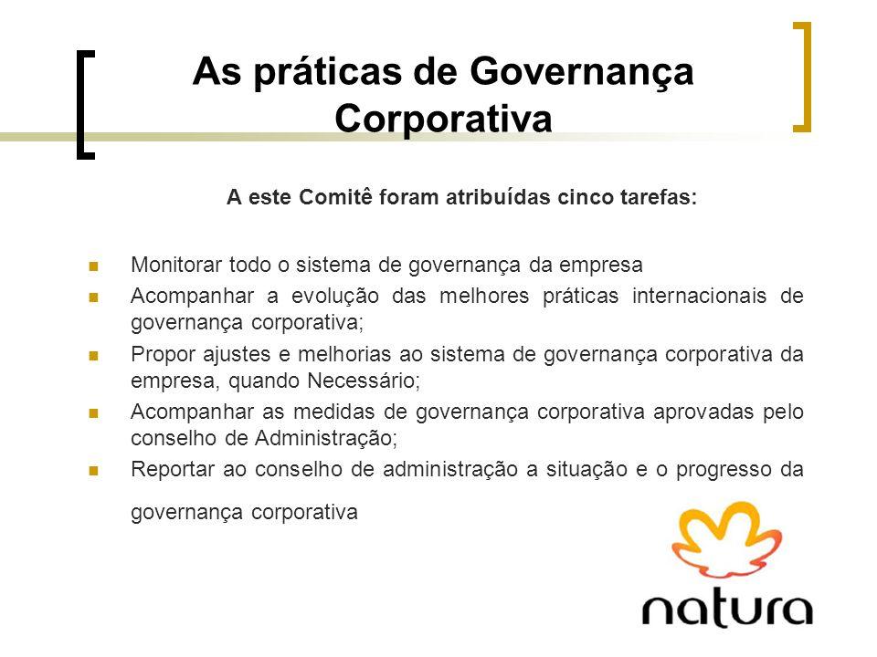 As práticas de Governança Corporativa A este Comitê foram atribuídas cinco tarefas: Monitorar todo o sistema de governança da empresa Acompanhar a evo