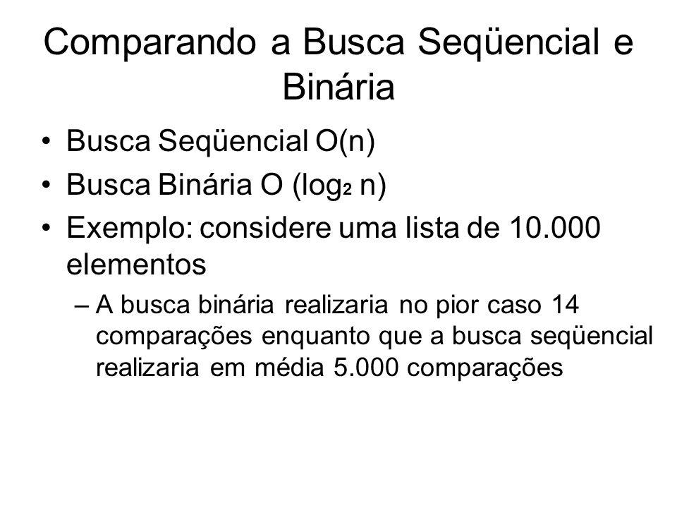 Comparando a Busca Seqüencial e Binária Busca Seqüencial O(n) Busca Binária O (log 2 n) Exemplo: considere uma lista de 10.000 elementos –A busca biná
