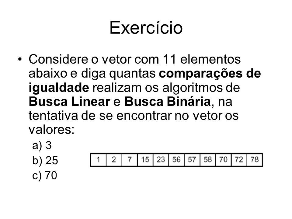Exercício Considere o vetor com 11 elementos abaixo e diga quantas comparações de igualdade realizam os algoritmos de Busca Linear e Busca Binária, na