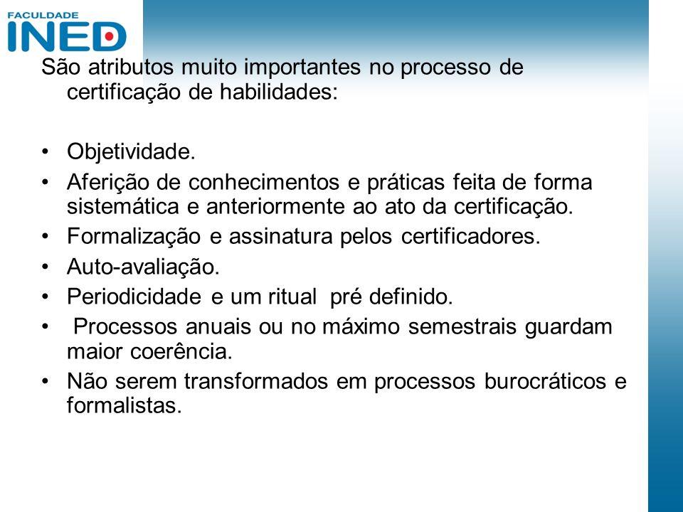 São atributos muito importantes no processo de certificação de habilidades: Objetividade. Aferição de conhecimentos e práticas feita de forma sistemát
