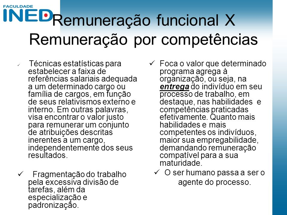 Remuneração funcional X Remuneração por competências Técnicas estatísticas para estabelecer a faixa de referências salariais adequada a um determinado