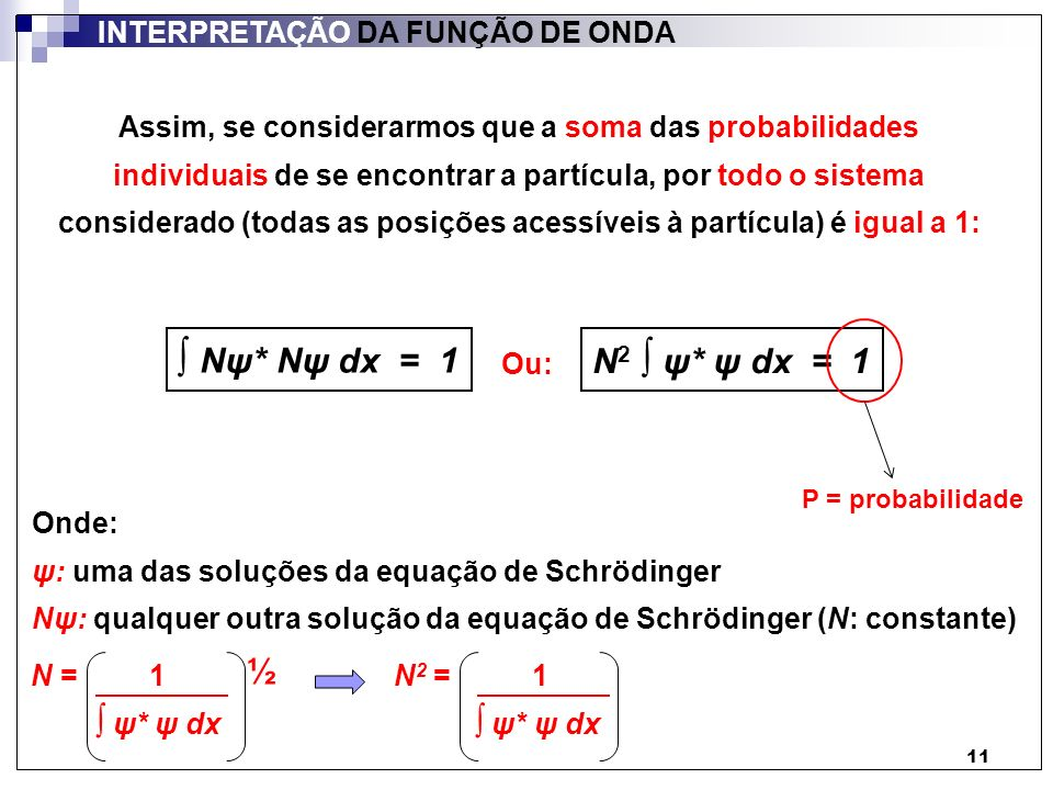 11 INTERPRETAÇÃO DA FUNÇÃO DE ONDA Assim, se considerarmos que a soma das probabilidades individuais de se encontrar a partícula, por todo o sistema c