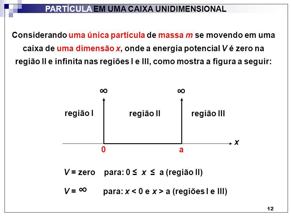 13 PARTÍCULA EM UMA CAIXA UNIDIMENSIONAL Considerando apenas estados de energia constante (estados estacionários), podemos resolver a equação de Schrödinger independente do tempo para encontrar funções de onda para uma partícula na caixa de uma dimensão: - h 2 d 2 ψ (x) + V (x) ψ (x) = E ψ (x) 2m dx 2 Uma das condições do slide anterior: V = para: x a Existe alguma probabilidade da partícula ser encontrada nas regiões I e III, onde V é infinita.