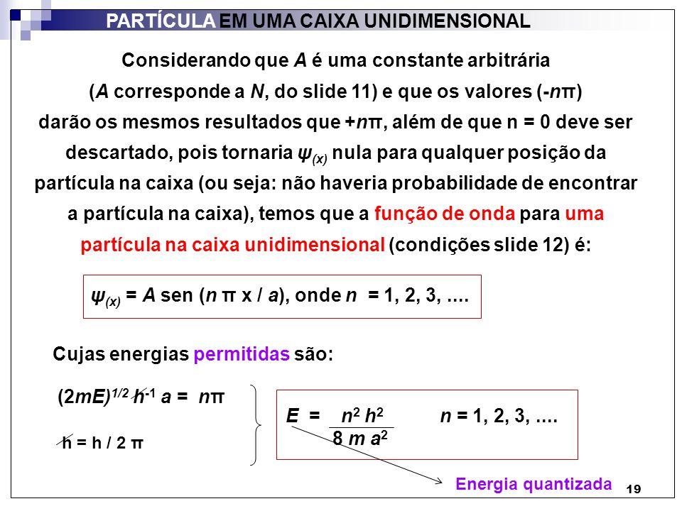 19 PARTÍCULA EM UMA CAIXA UNIDIMENSIONAL Considerando que A é uma constante arbitrária (A corresponde a N, do slide 11) e que os valores (-nπ) darão o