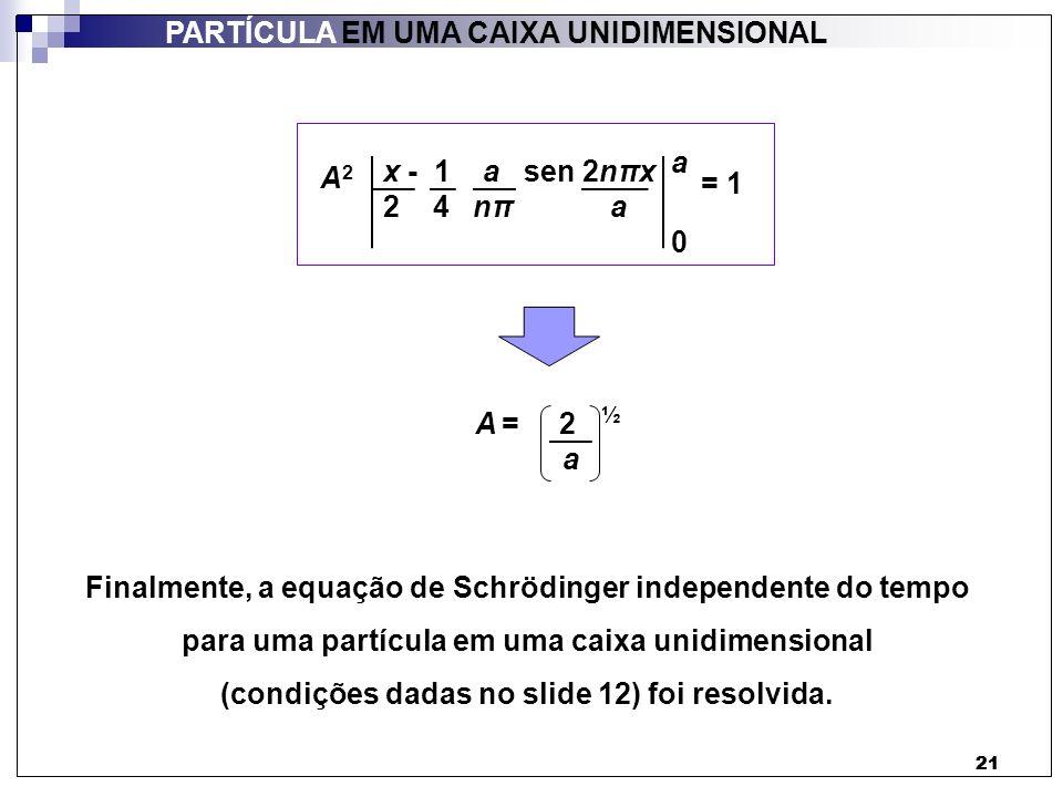 21 PARTÍCULA EM UMA CAIXA UNIDIMENSIONAL 21 A2A2 = 1 A = 2 ½ a Finalmente, a equação de Schrödinger independente do tempo para uma partícula em uma ca