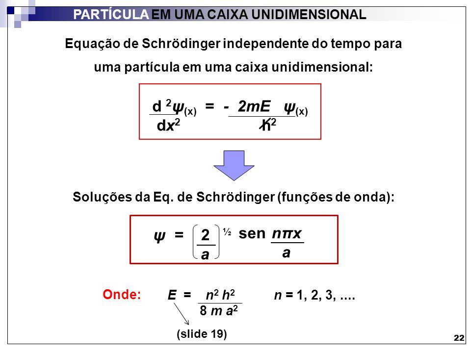 22 PARTÍCULA EM UMA CAIXA UNIDIMENSIONAL 22 = 2 ½ a sen nπx a ψ E = n 2 h 2 n = 1, 2, 3,.... 8 m a 2 Onde: (slide 19) d 2 ψ (x) = - 2mE ψ (x) dx 2 h 2