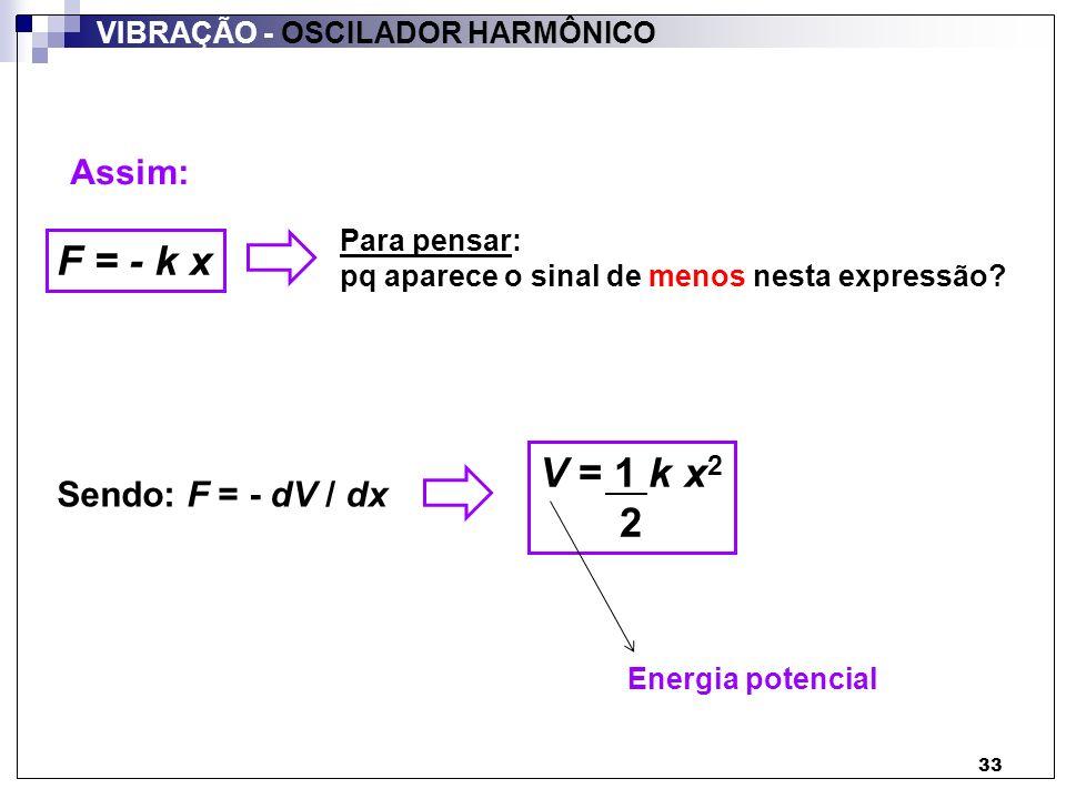 33 Assim: F = - k x Para pensar: pq aparece o sinal de menos nesta expressão? Sendo: F = - dV / dx V = 1 k x 2 2 Energia potencial VIBRAÇÃO - OSCILADO