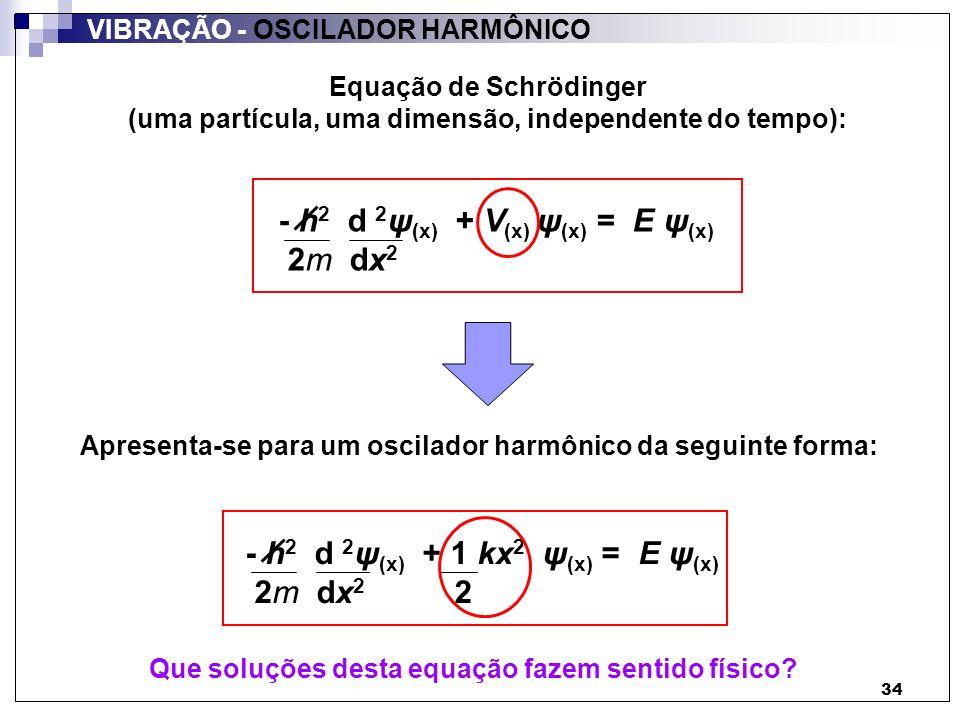 34 VIBRAÇÃO - OSCILADOR HARMÔNICO - h 2 d 2 ψ (x) + V (x) ψ (x) = E ψ (x) 2m dx 2 Apresenta-se para um oscilador harmônico da seguinte forma: Equação