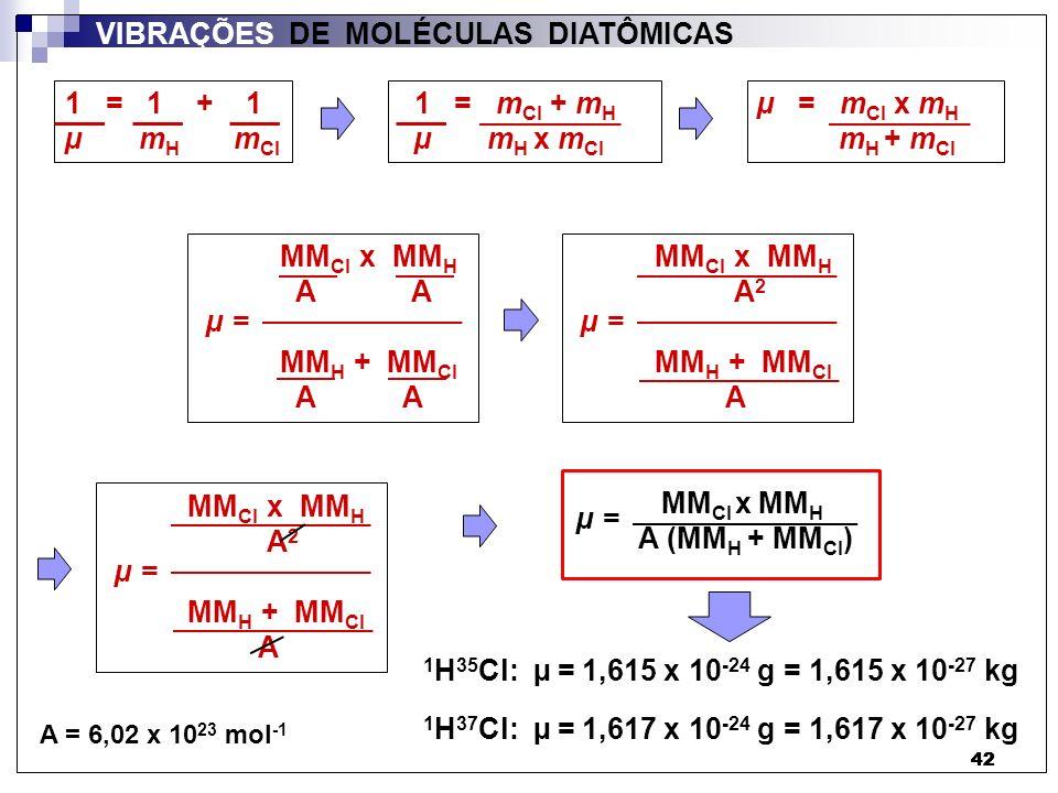 42 VIBRAÇÕES DE MOLÉCULAS DIATÔMICAS 1 = 1 + 1 µ m H m Cl 1 = m Cl + m H µ m H x m Cl µ = m Cl x m H m H + m Cl MM Cl x MM H A A MM H + MM Cl A A µ =