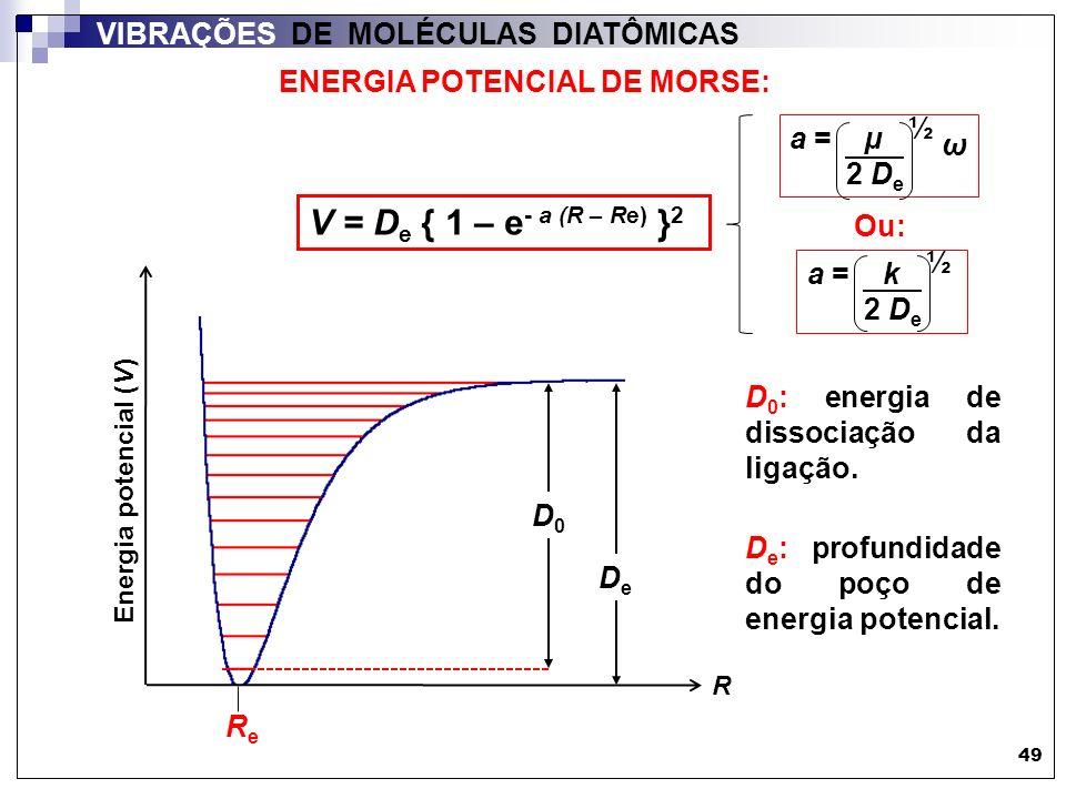 49 VIBRAÇÕES DE MOLÉCULAS DIATÔMICAS ENERGIA POTENCIAL DE MORSE: V = D e { 1 – e - a (R – Re) } 2 R ReRe Energia potencial (V) D0D0 DeDe a = k 2 D e ½