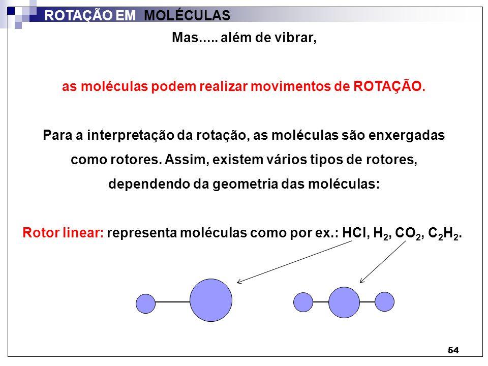 54 ROTAÇÃO EM MOLÉCULAS Mas..... além de vibrar, as moléculas podem realizar movimentos de ROTAÇÃO. Para a interpretação da rotação, as moléculas são