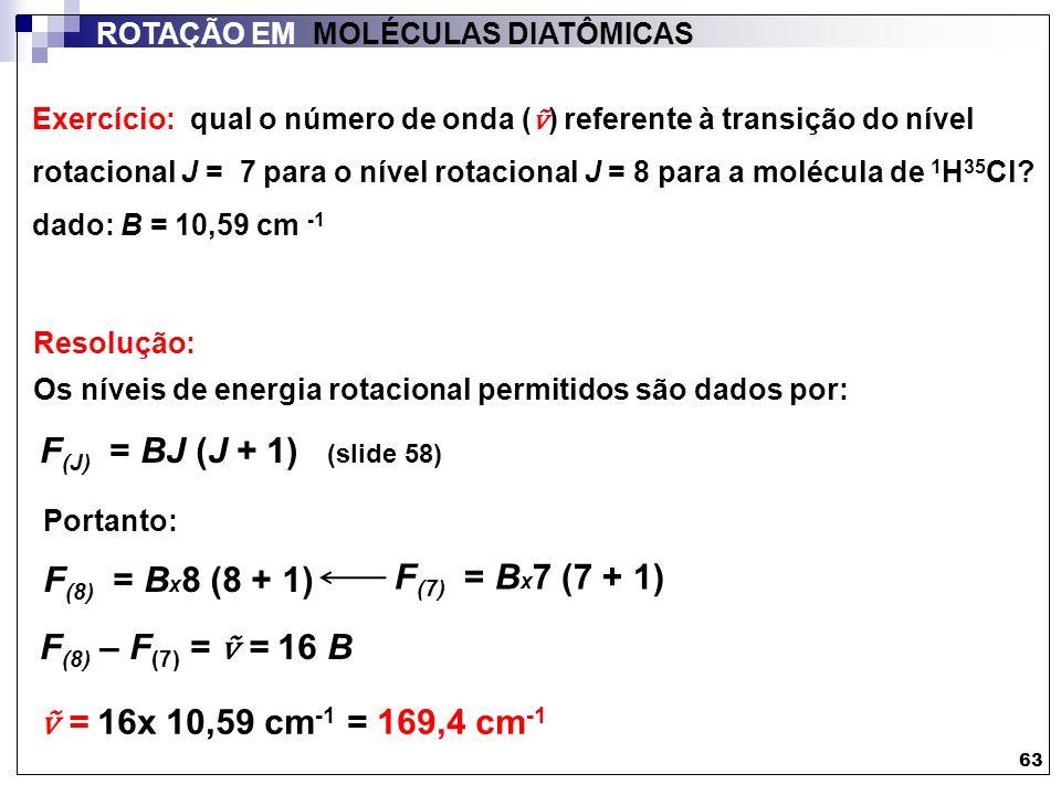 Exercício: qual o número de onda ( ) referente à transição do nível rotacional J = 7 para o nível rotacional J = 8 para a molécula de 1 H 35 Cl? dado: