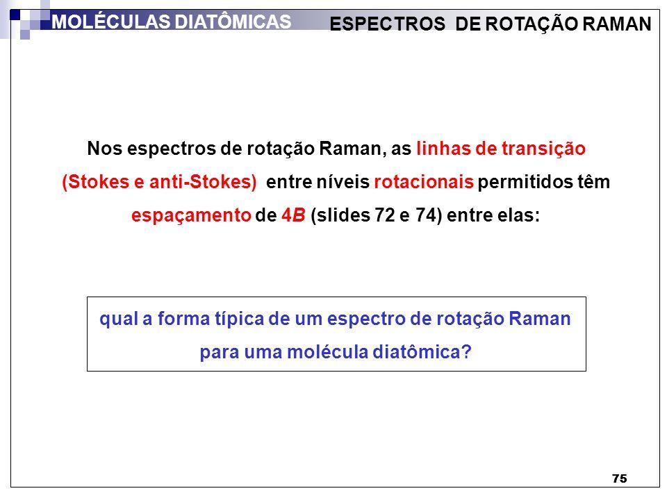 75 Nos espectros de rotação Raman, as linhas de transição (Stokes e anti-Stokes) entre níveis rotacionais permitidos têm espaçamento de 4B (slides 72
