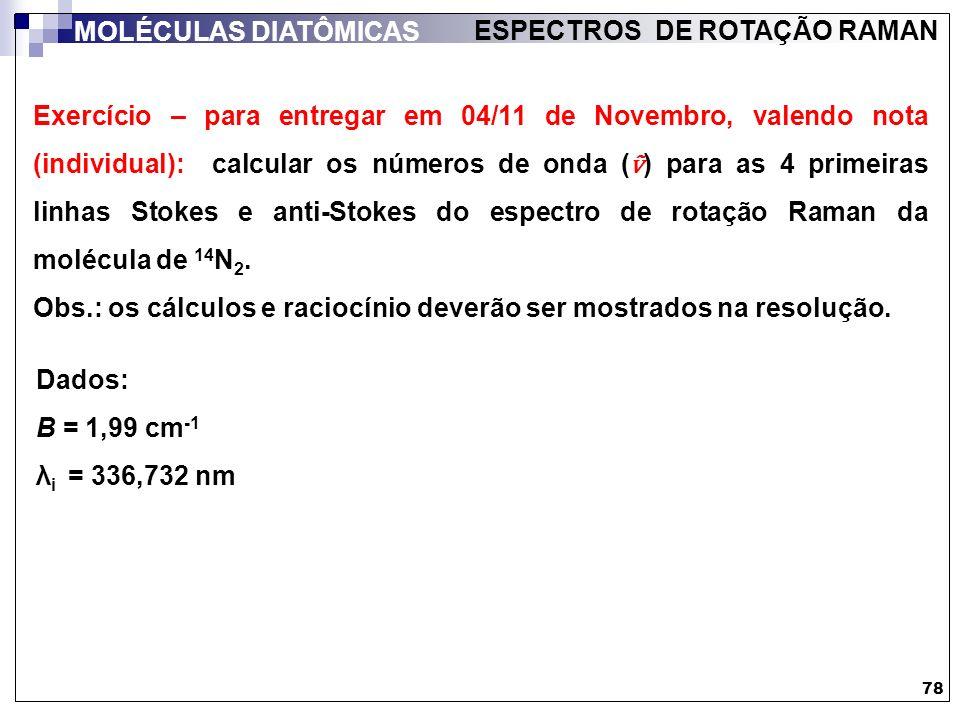 Exercício – para entregar em 04/11 de Novembro, valendo nota (individual): calcular os números de onda ( ) para as 4 primeiras linhas Stokes e anti-St