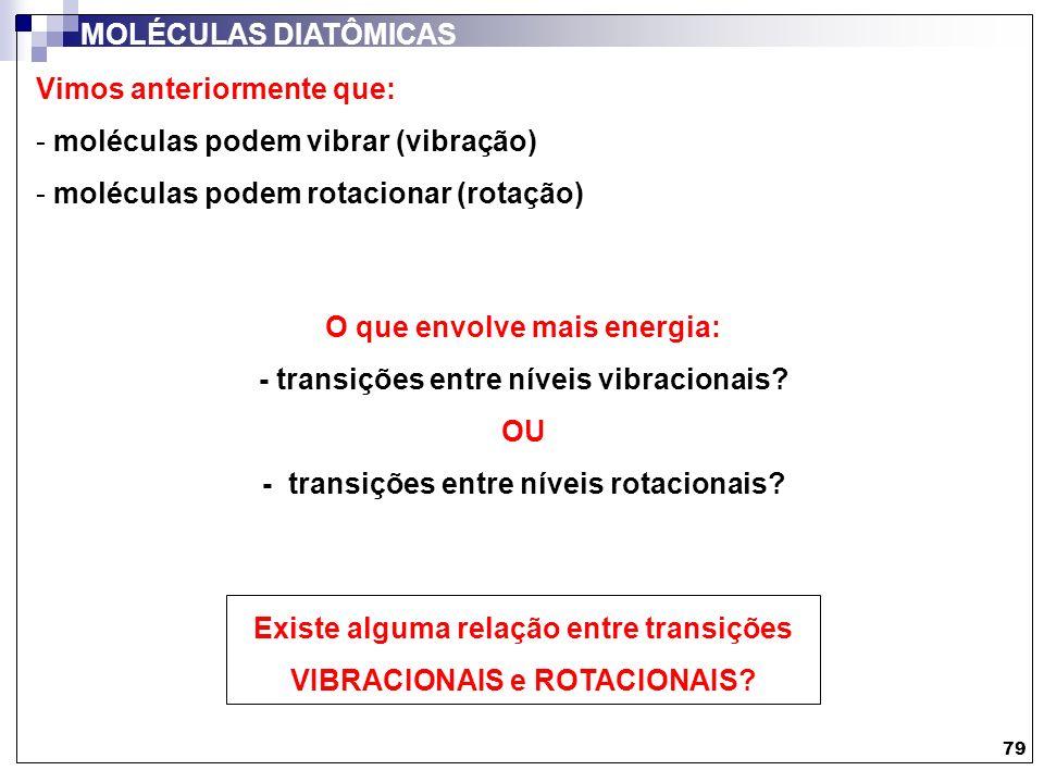 Vimos anteriormente que: - moléculas podem vibrar (vibração) - moléculas podem rotacionar (rotação) 79 MOLÉCULAS DIATÔMICAS O que envolve mais energia