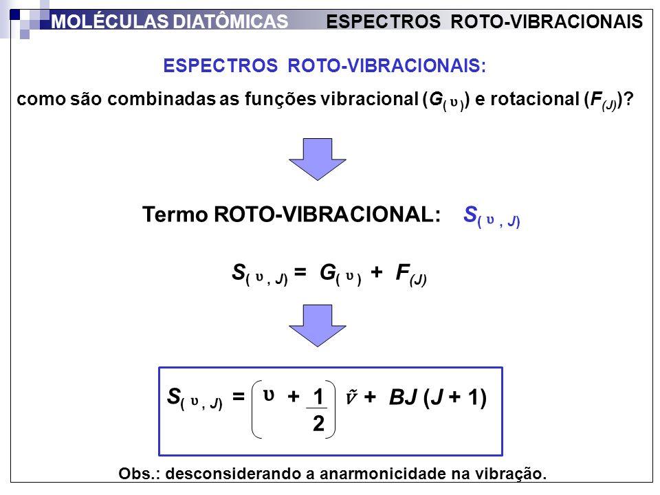 ESPECTROS ROTO-VIBRACIONAIS: como são combinadas as funções vibracional (G ( ) ) e rotacional (F (J) )? + BJ (J + 1) MOLÉCULAS DIATÔMICAS ESPECTROS RO