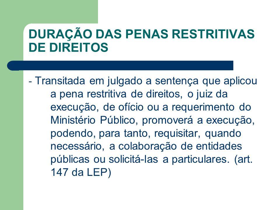 DURAÇÃO DAS PENAS RESTRITIVAS DE DIREITOS - Transitada em julgado a sentença que aplicou a pena restritiva de direitos, o juiz da execução, de ofício