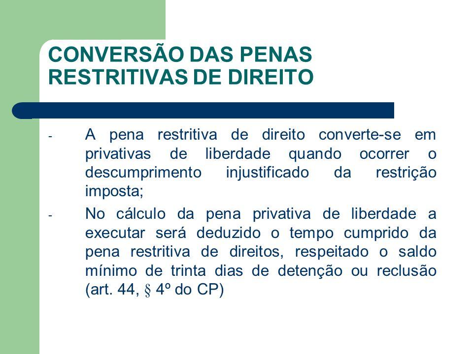 CONVERSÃO DAS PENAS RESTRITIVAS DE DIREITO - A pena restritiva de direito converte-se em privativas de liberdade quando ocorrer o descumprimento injus