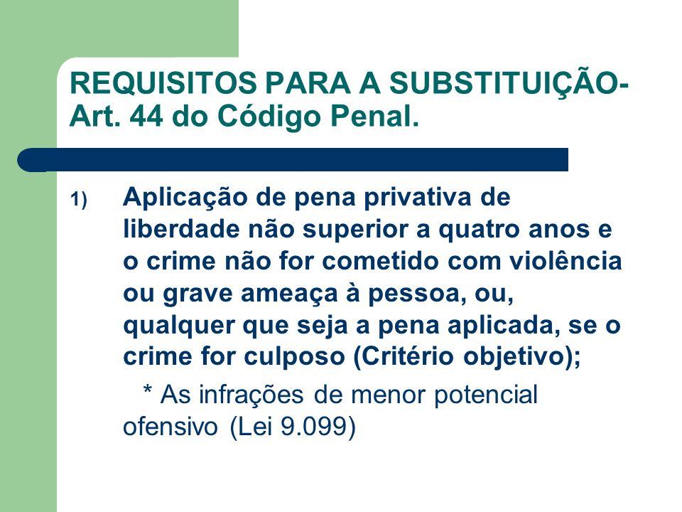 REQUISITOS PARA A SUBSTITUIÇÃO- Art. 44 do Código Penal. 1) Aplicação de pena privativa de liberdade não superior a quatro anos e o crime não for come