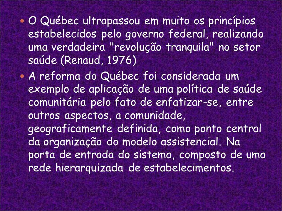 O Québec ultrapassou em muito os princípios estabelecidos pelo governo federal, realizando uma verdadeira