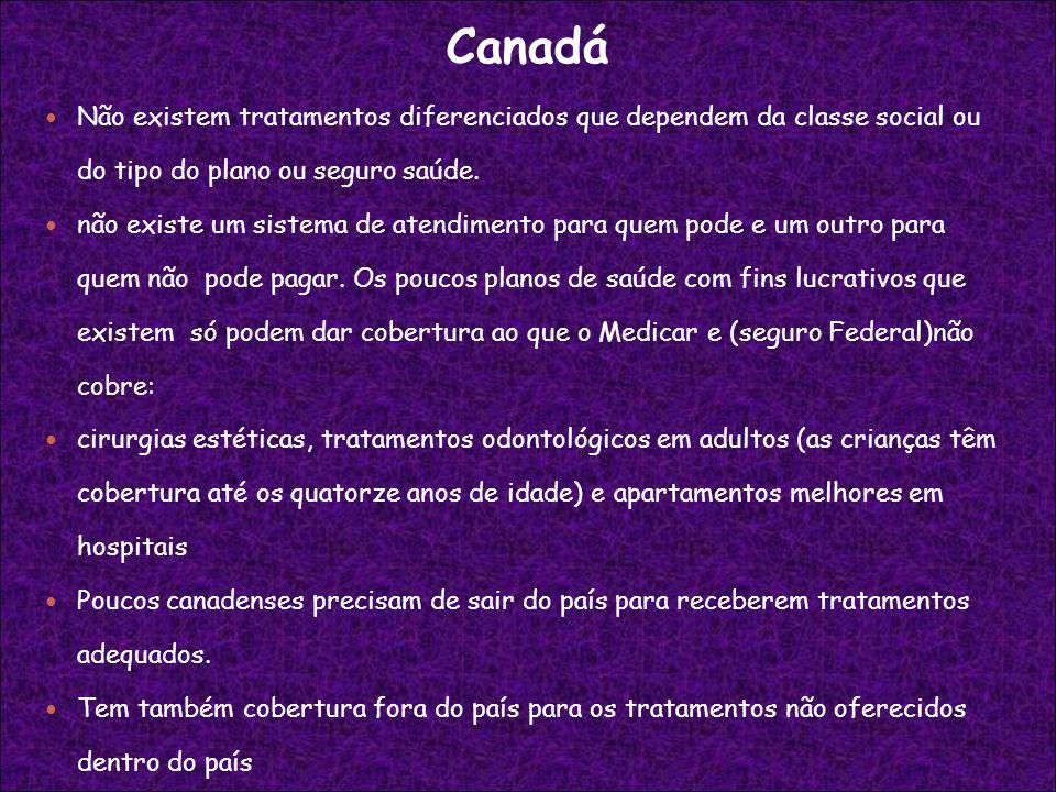 Canadá Não existem tratamentos diferenciados que dependem da classe social ou do tipo do plano ou seguro saúde. não existe um sistema de atendimento p