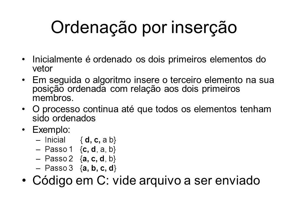 Ordenação por inserção Inicialmente é ordenado os dois primeiros elementos do vetor Em seguida o algoritmo insere o terceiro elemento na sua posição o