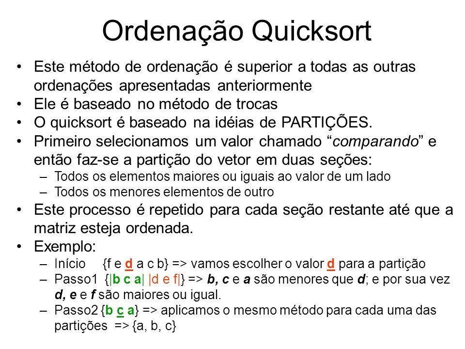 Ordenação Quicksort Este método de ordenação é superior a todas as outras ordenações apresentadas anteriormente Ele é baseado no método de trocas O qu