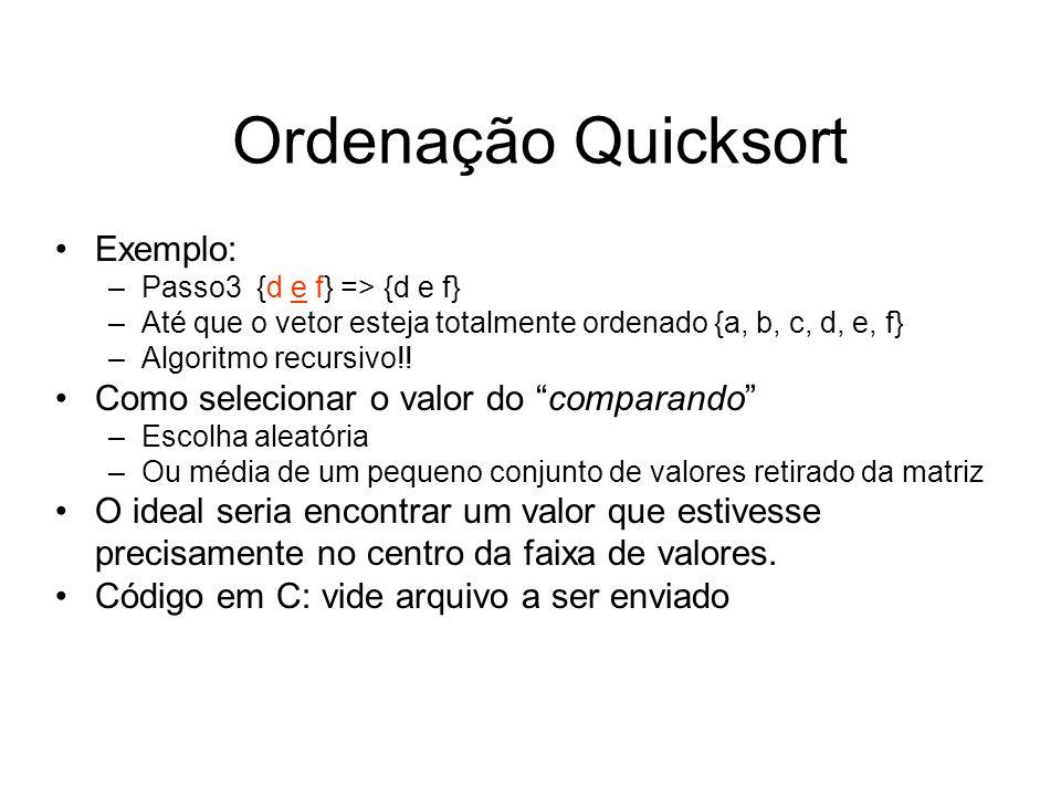 Ordenação Quicksort Exemplo: –Passo3 {d e f} => {d e f} –Até que o vetor esteja totalmente ordenado {a, b, c, d, e, f} –Algoritmo recursivo!! Como sel