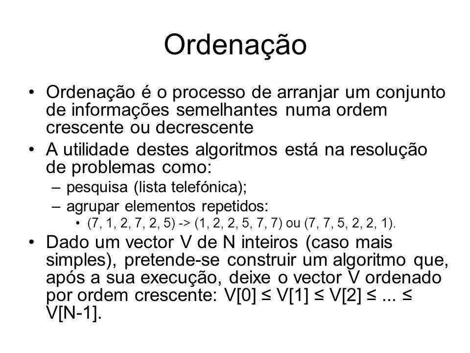 Ordenação Ordenação é o processo de arranjar um conjunto de informações semelhantes numa ordem crescente ou decrescente A utilidade destes algoritmos