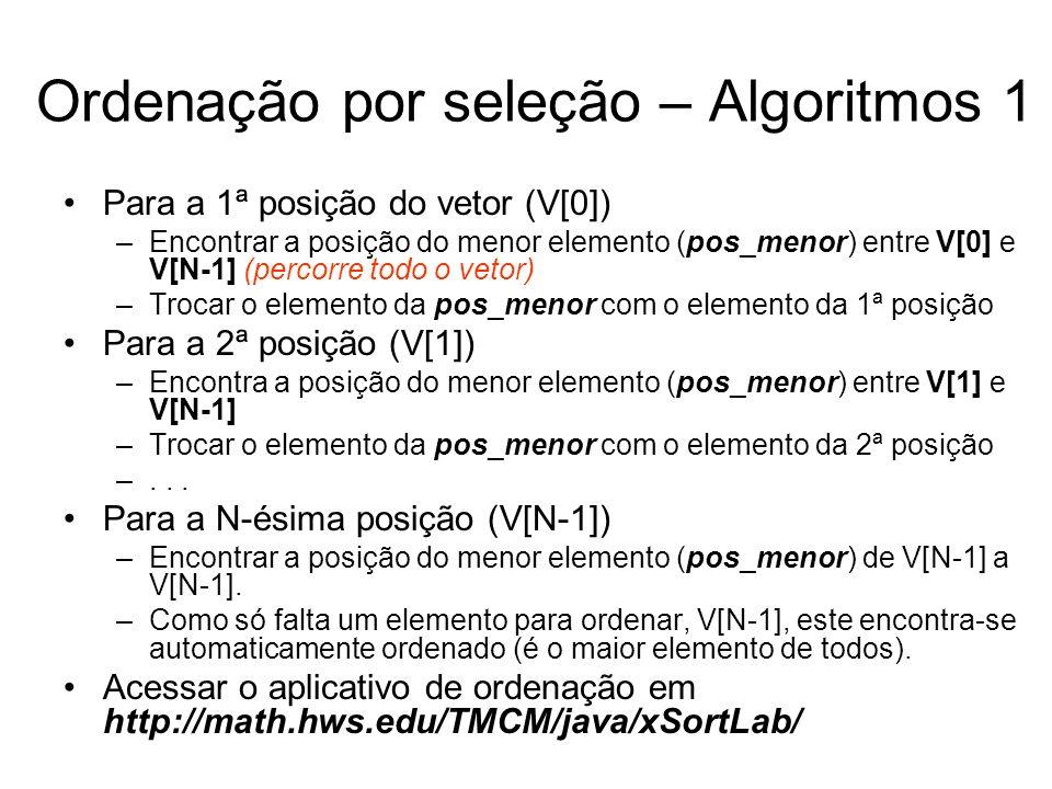 Ordenação por seleção – Algoritmos 1 Para a 1ª posição do vetor (V[0]) –Encontrar a posição do menor elemento (pos_menor) entre V[0] e V[N-1] (percorr
