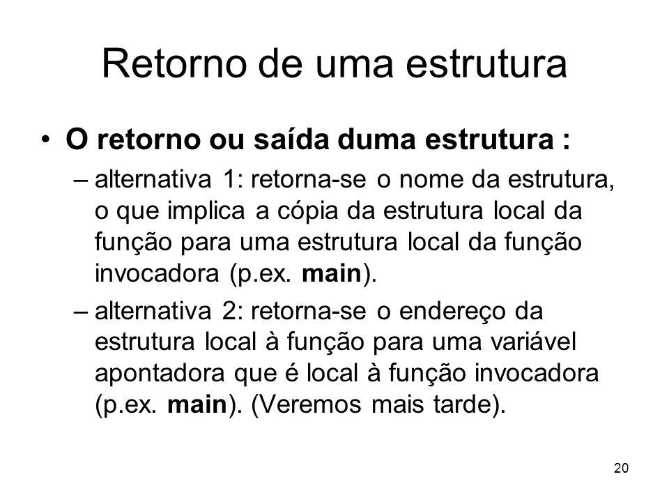 20 Retorno de uma estrutura O retorno ou saída duma estrutura : –alternativa 1: retorna-se o nome da estrutura, o que implica a cópia da estrutura loc