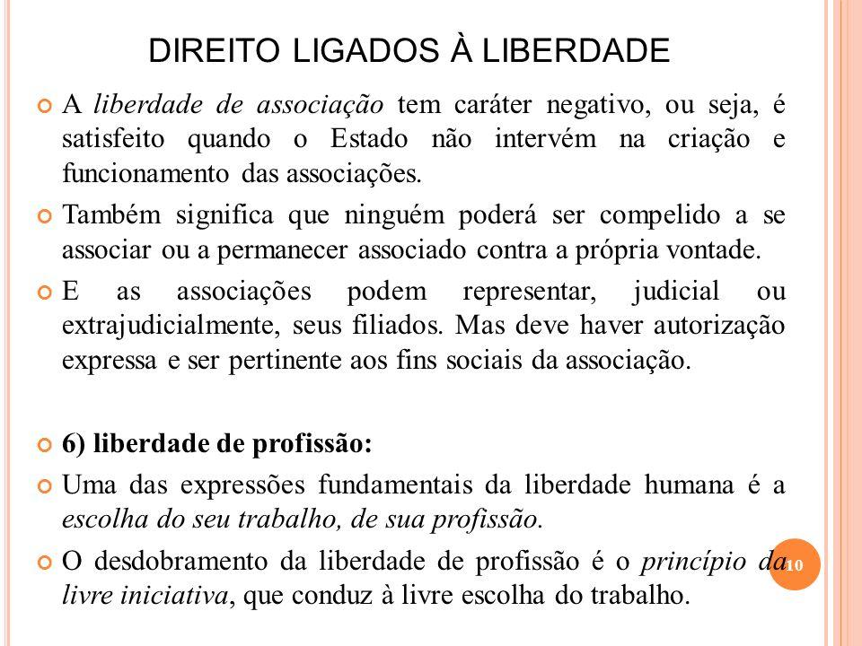 DIREITO LIGADOS À LIBERDADE A liberdade de associação tem caráter negativo, ou seja, é satisfeito quando o Estado não intervém na criação e funcioname