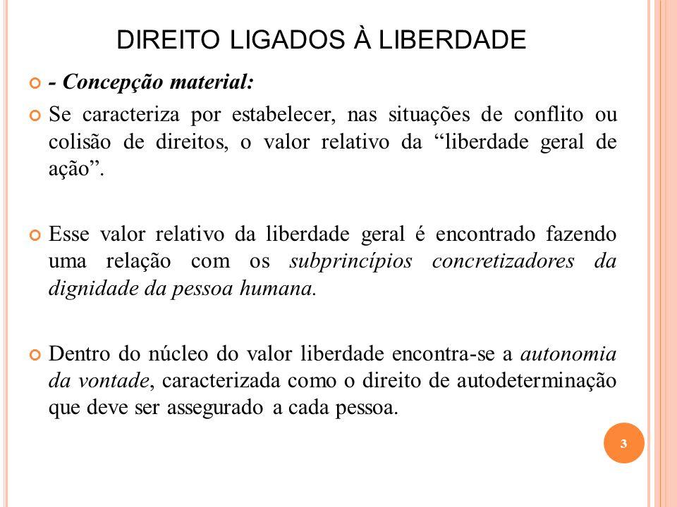DIREITO LIGADOS À LIBERDADE - Concepção material: Se caracteriza por estabelecer, nas situações de conflito ou colisão de direitos, o valor relativo d
