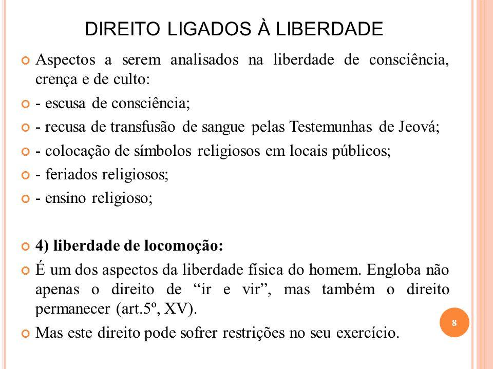 DIREITO LIGADOS À LIBERDADE Aspectos a serem analisados na liberdade de consciência, crença e de culto: - escusa de consciência; - recusa de transfusã