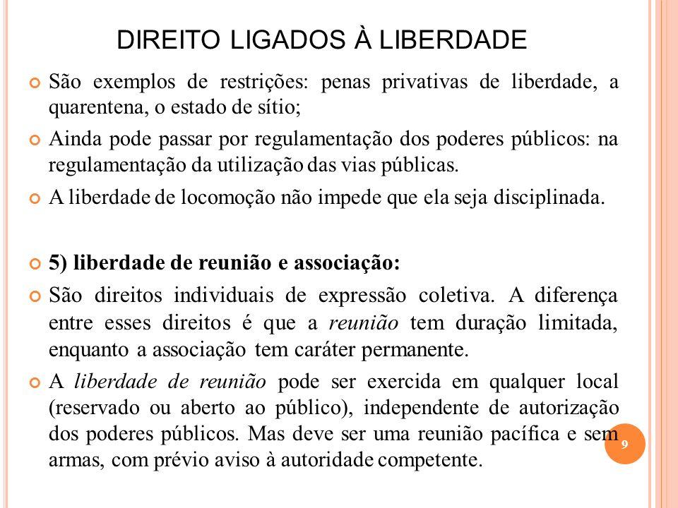 DIREITO LIGADOS À LIBERDADE A liberdade de associação tem caráter negativo, ou seja, é satisfeito quando o Estado não intervém na criação e funcionamento das associações.